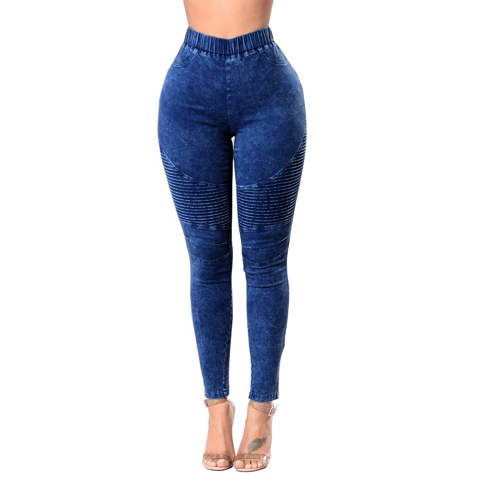 GALMINT Women's Casual Pleated Moto Skinny Jegging jeans Stretch Ankle Zip Denim Pants