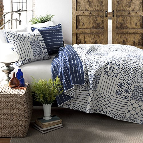 Lush Decor Monique 3 Piece Reversible Print Pattern Blue Quilt Set - Full - Reversible Blanket Blue
