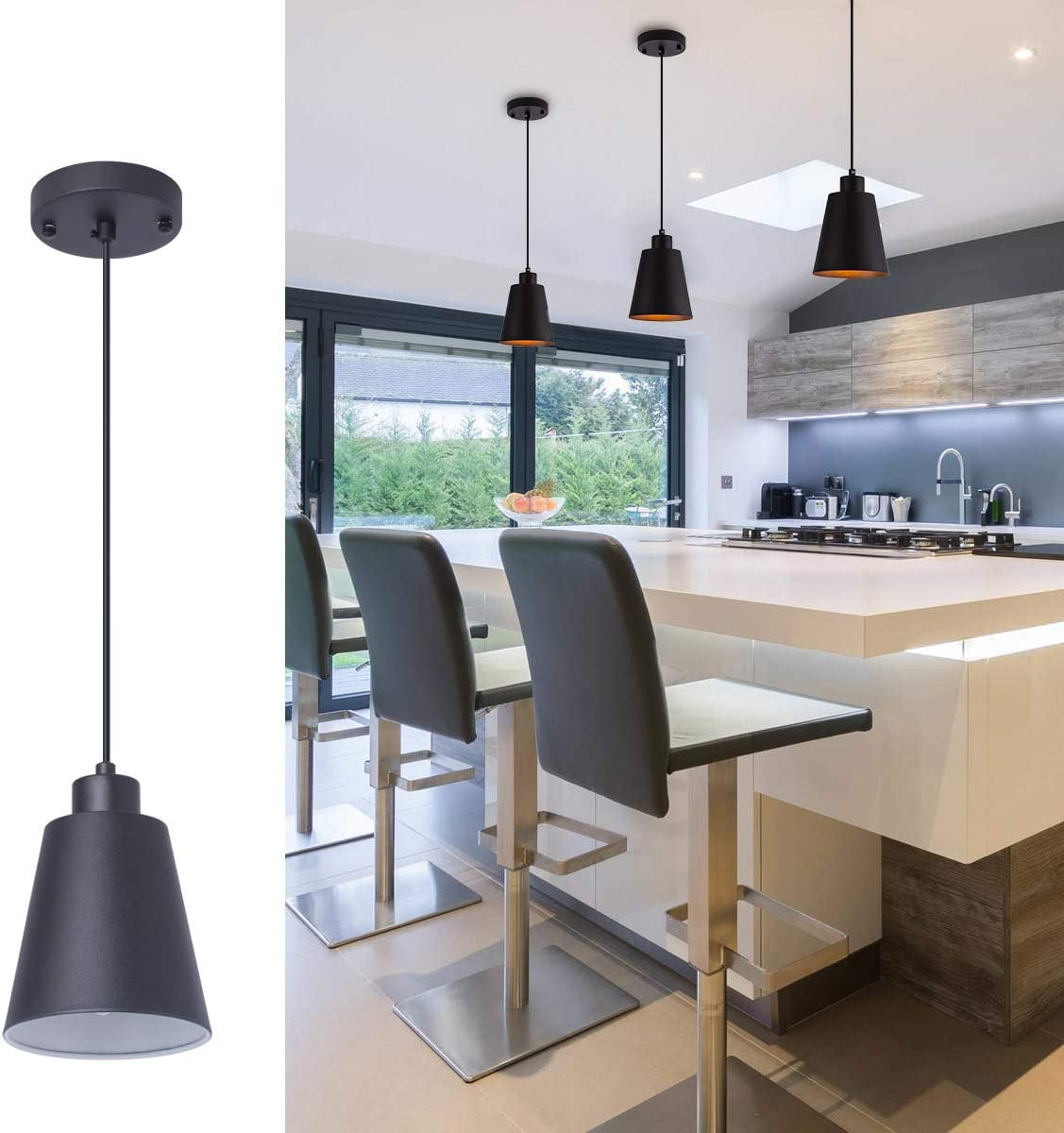 Modern Black Pendant Light Fixture 5 94 Mini 1 Light Pendant Lighting For Kitchen Island Industrial Hanging Pendant Light Cup Shade For Dining Room Foyer Hallway Bar With 78in Flexible Cord Amazon Com