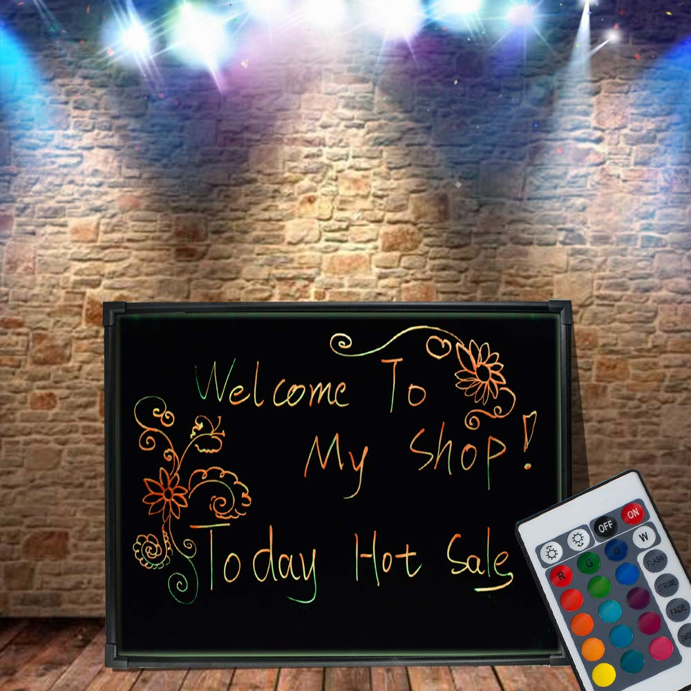 Ovovo LED Message Writing Board Erasable LED Message Board Lighted Sign with 8 Fluorescent Pens Ideal for Shop/Cafe/Bar/Menu/Wedding/Decoration School (32