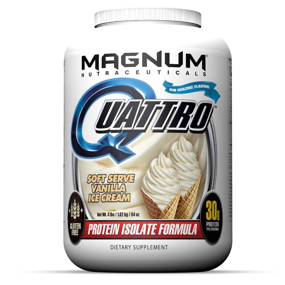 Magnum Nutraceuticals Quattro Protein Powder - 4lbs - Vanilla Ice Cream - Pharmaceutical Grade Protein Isolate - Lactose Free - Gluten Free - Peanut Free