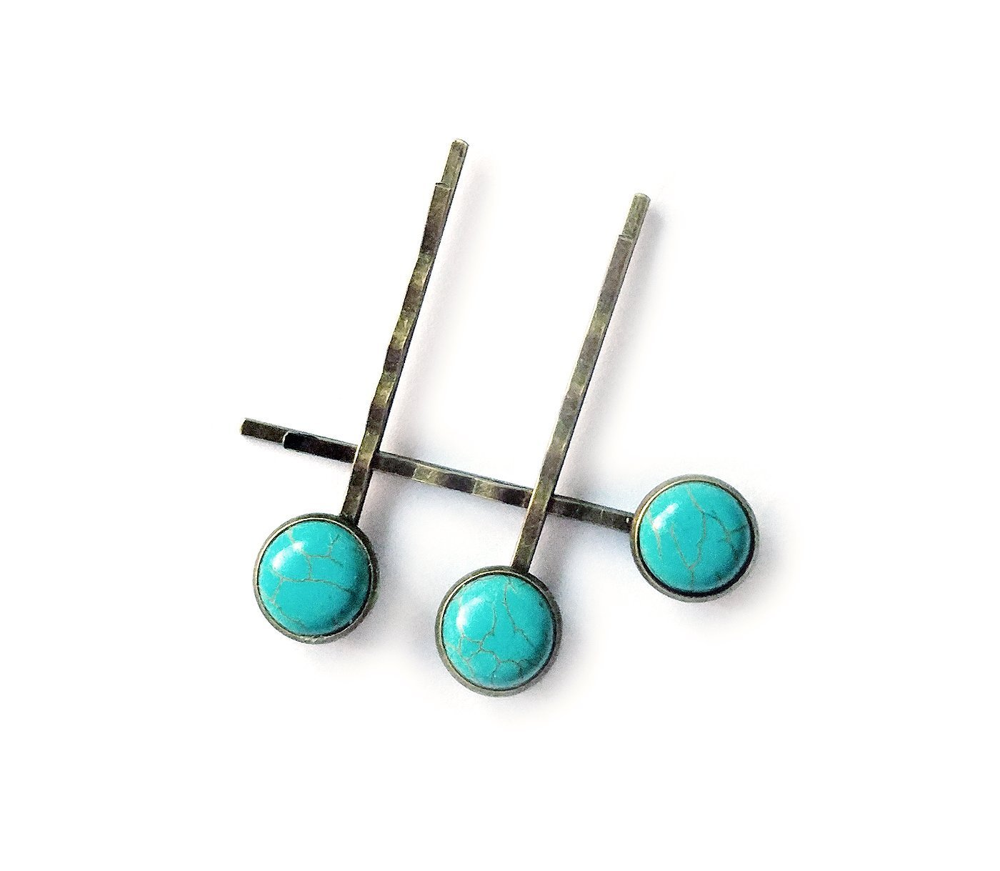 Turquoise Hair Clips - Set of three high quality bronze bobby pins - modern minimal style