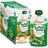 Happy Tot Organics Super Foods Pears, Peas & Green Beans + Super Chia Stage 4 Baby Food, 4.22 oz, 8 count