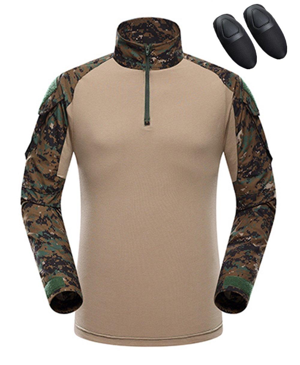 haoYK Camiseta de combate militar Paintball con bolsillos Camiseta de manga larga BDU Airsoft Camo Camisa táctica para hombres con coderas