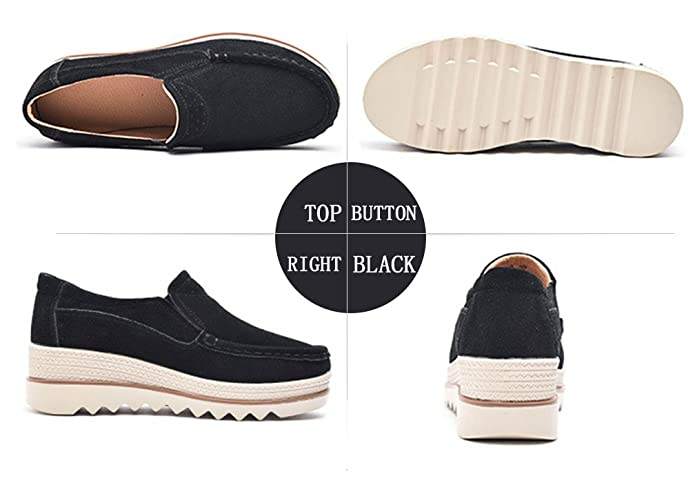 Amazon.com | Loafers Flats Shoes Leather Moccasins Women Slip on Platform Sneakers Comfort | Loafers & Slip-Ons