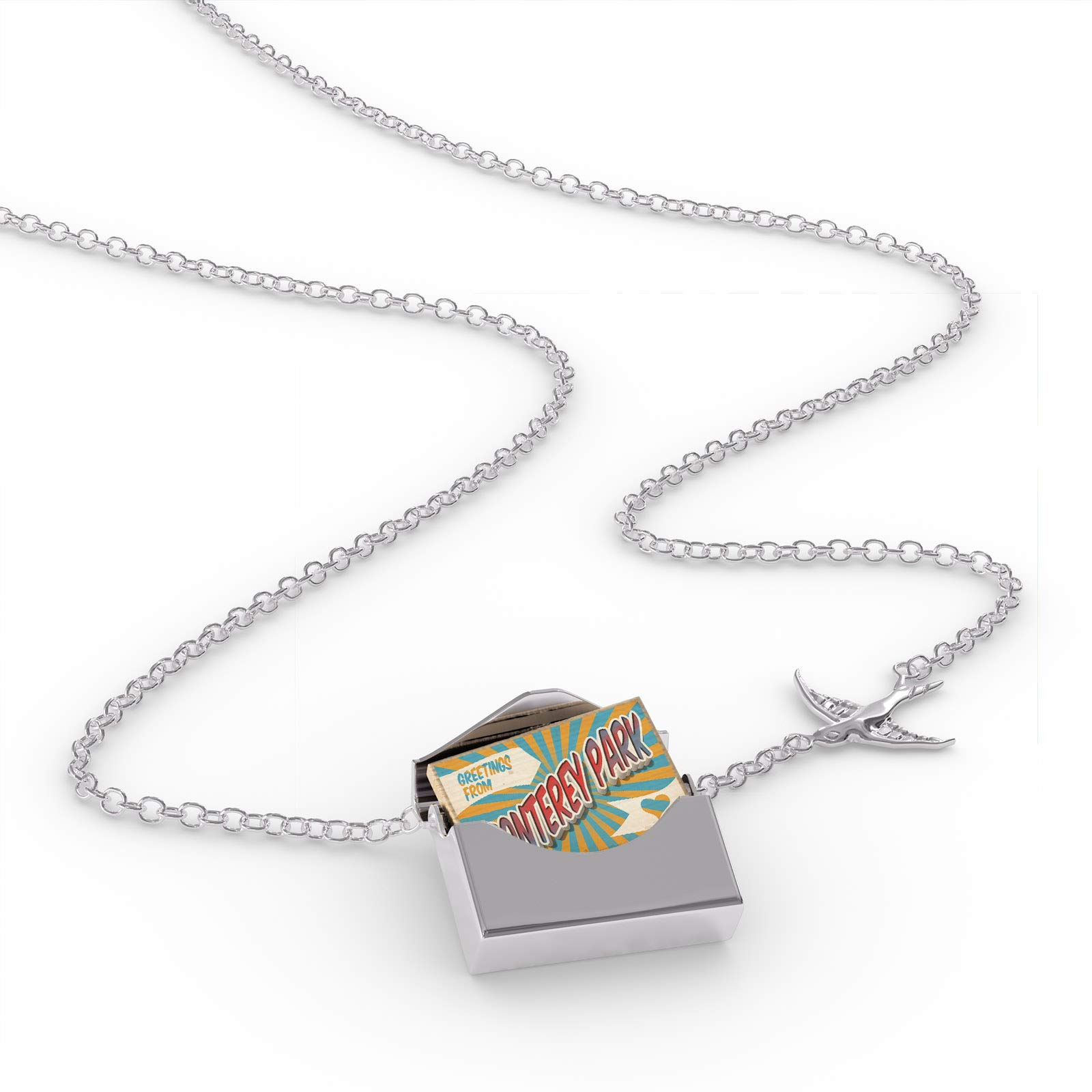 NEONBLOND Locket Necklace Greetings from Monterey Park, Vintage Postcard in a Silver Envelope