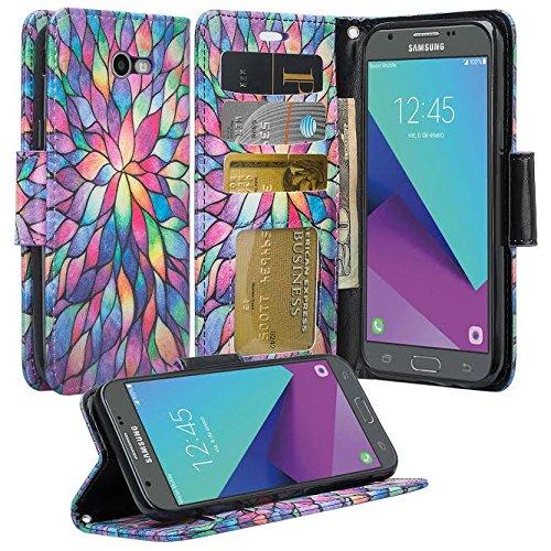 GALAXY WIRELESS for Galaxy J3 Luna Pro Case,Galaxy J3 Prime Case,J3 Eclipse,Galaxy J3 Emerge, Amp Prime 2, Express Prime 2, Sol 2/J3 2017/J3 Mission [Kickstand] Leather Wallet ID Slots, Rainbow Flower
