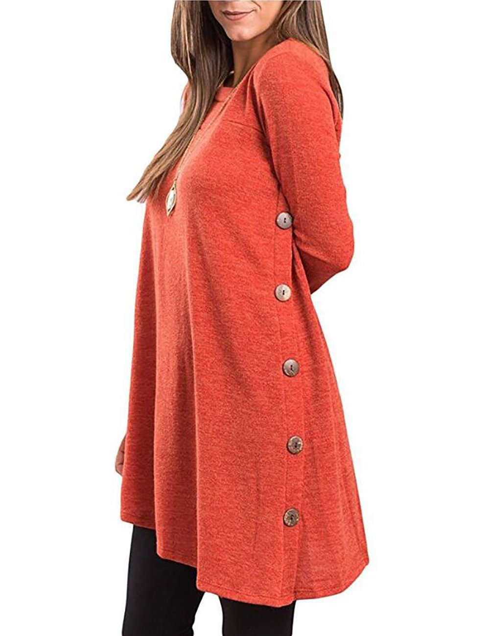 Sanifer Women's Casual Long Sleeve Loose Tunic Dress for Leggings with Buttons (Orange, XX-Large)