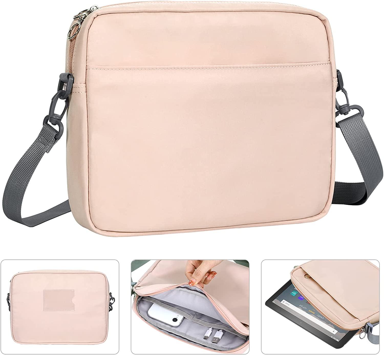 Dadanism 9-11 Inch Tablet Sleeve Shoulder Bag for iPad 10.2 2020/2019, iPad Pro 11 2018-2021, iPad Air 4 10.9 2020, Galaxy Tab A7 10.4 2020, Tab M10 Plus 10.3, Tablet Pouch Crossbody Bag, Pink