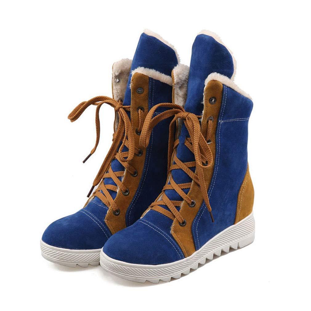 Hy Damen Freizeitschuhe Winter Wildleder Lace-up Snow Stiefel Stiefel Damen Flat Large Größe Stiefelies/Stiefeletten Winter Stiefel (Farbe : Blau, Größe : 42)