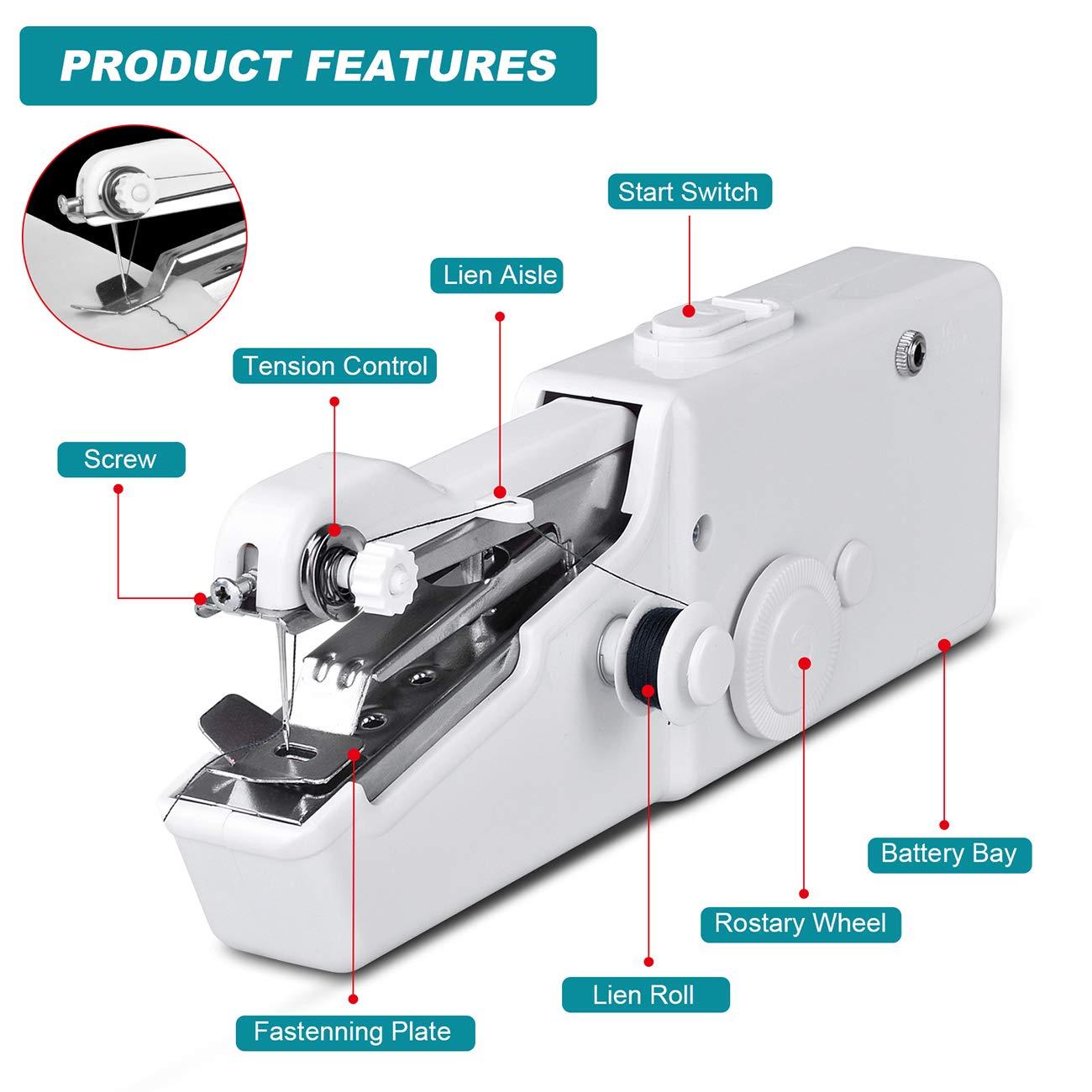 Macchine da Cucire per Viaggi a Casa Principianti Tende Abbigliamento Artigianato Aonny Macchina da Cucire Portatile
