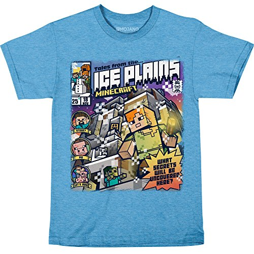 JINX Minecraft Big Boys' Tales from The Ice Plains Premium Cotton T-Shirt (Light Blue Heather, (Big Kids Ice Blue Apparel)