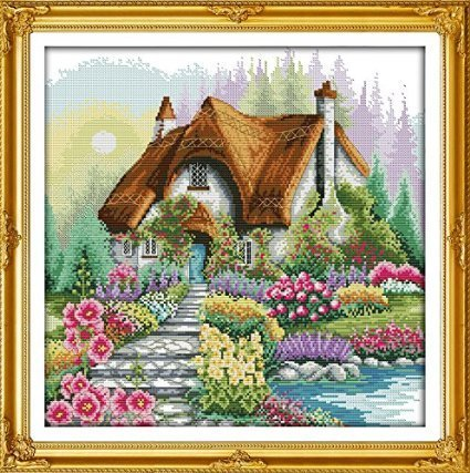 Happy Forever Cross Stitch, Scenery, the beautiful flower ho