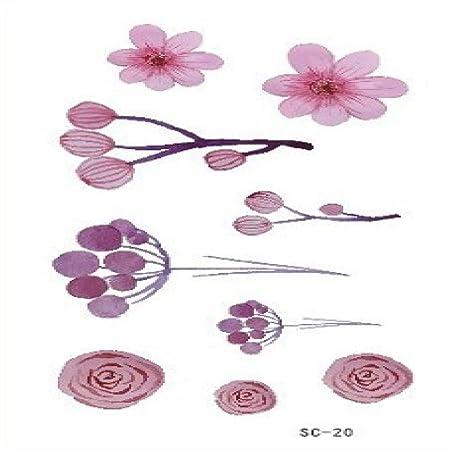 tzxdbh 10pcs-Acuarela Flores simulación Planta Sonriente Tatuaje ...