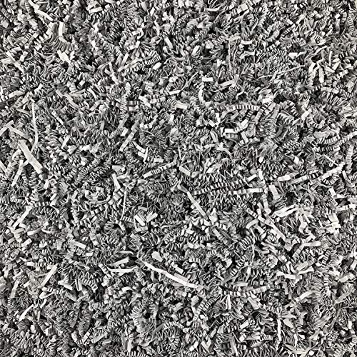 Worlds Crinkle Cut Paper Shred for Packing Filler Gift Wrap Basket Filler Colored Crinkle Paper 1LB Gray