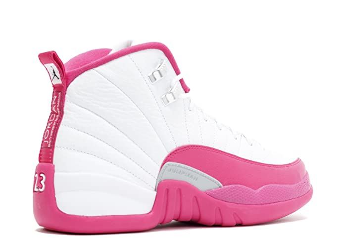 53e6bc7629f Amazon.com | Jordan Air 12 Retro XII GG Vivid Pink 510815 109 White/Vivid  Pink-Metallic Silver Size 9.5Y=Women Size 11/11.5 | Basketball