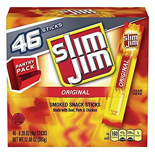 Slim Jim Smoked Snack Stick Pantry Pack, Original, 0.28 oz Stick 46Count