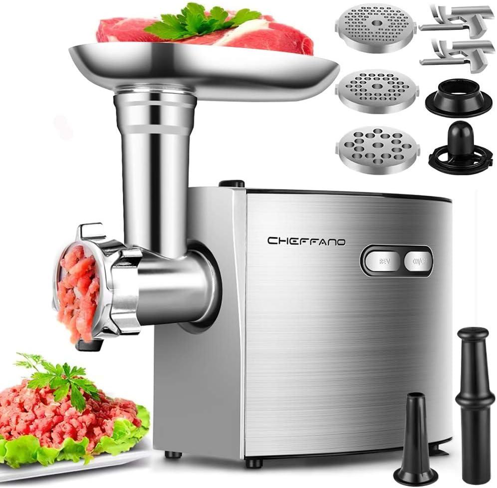 ElectricMeatGrinder,CHEFFANO StainlessSteelMeatMincerSausageStuffer, 2000WMax ETLApproved Meat Grinder Machine with3GrindingPlates,2Blades,SausageKubbeKit Sets,Home KitchenUse