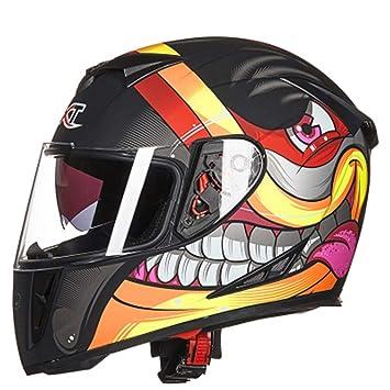 SryWj GXT Casco De Motocicleta Hombres Y Mujeres Personalidad De Portada Completa Casco De Cara Completa