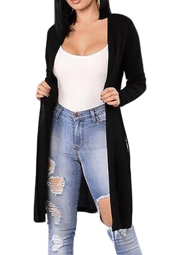 Las Mujeres De Manga Larga Chaqueta De Punto Larga Hendidura Top Outwear Frente Abierto Black XL