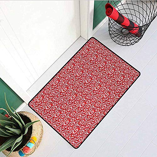 Gloria Johnson Candy Inlet Outdoor Door mat Festive Spiral Motifs Pattern with Doodle Style Christmas Theme Illustration Catch dust Snow and mud W15.7 x L23.6 Inch Coral Ruby White