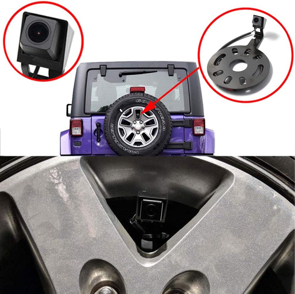 EWAY Backup Rear View Spare Tire Mount Camera for Jeep Wrangler 2007-2018 with 4.3 Anti-Glare Mirror LCD Monitor Reverse Camera with Removable Guideline