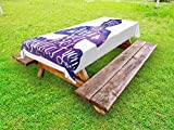 Ambesonne Yoga Outdoor Tablecloth, Female Silhouette with Watercolor Space Design Inspirational Quote Meditation, Decorative Washable Picnic Table Cloth, 58 X 84 inches, Violet and White