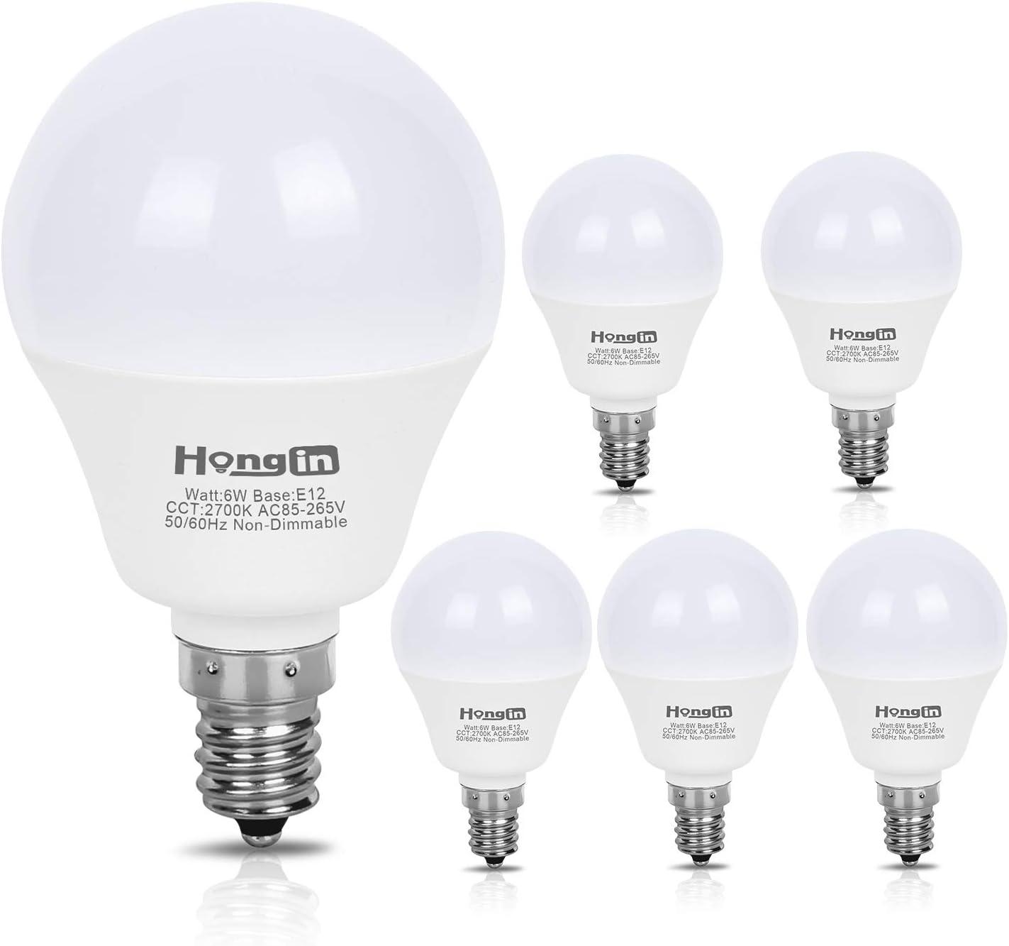 E12 LED Bulb Candelabra LED Bulbs Daylight White 5000K Ceiling Fan Light Chandelier Base Non Dimmable Equivalent 60Watt Candelabras 6W 550Lumens