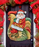 Christmas Decorations - Santa on Rooster Wall/Door Christmas Decor G.DeBrekht 8111340H