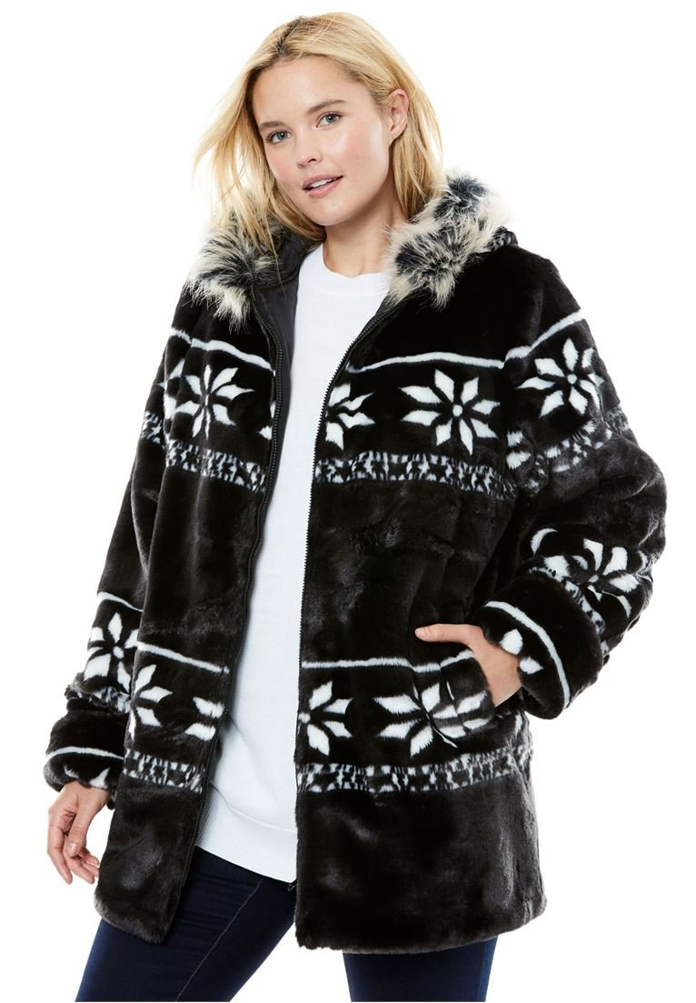 Women's Plus Size Jacket, Hooded With Faux Fur With Snowflake Pattern Black,3X
