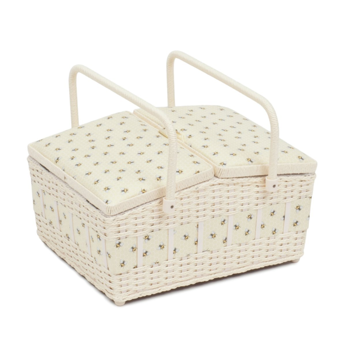 Hobby Gift Classic Twin Lid Wicker Sewing Box Honeycomb by Hobby Gift