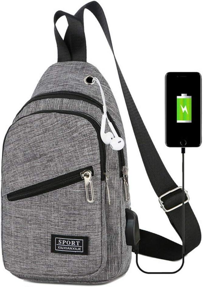 USB Charging Chest Pack Anti Theft Travel Sport Messenger Crossbody Shoulder Bag Grey, 31177