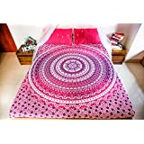 Bohemian Mandala Tapestry Bedding with Pillow Covers, Indian Hippie Tapestry Wall Hanging, Mandala Bedspread for Bedroom or Beach Throw Blanket, Pink Purple Queen Size Intricate Pink Boho Decor