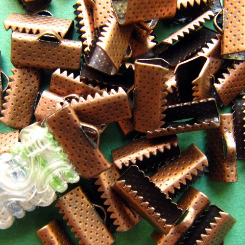 144pcs 13mm or 1/2 inch Ribbon Clamps with Loop -- Antique Copper Antique Copper Ribbon