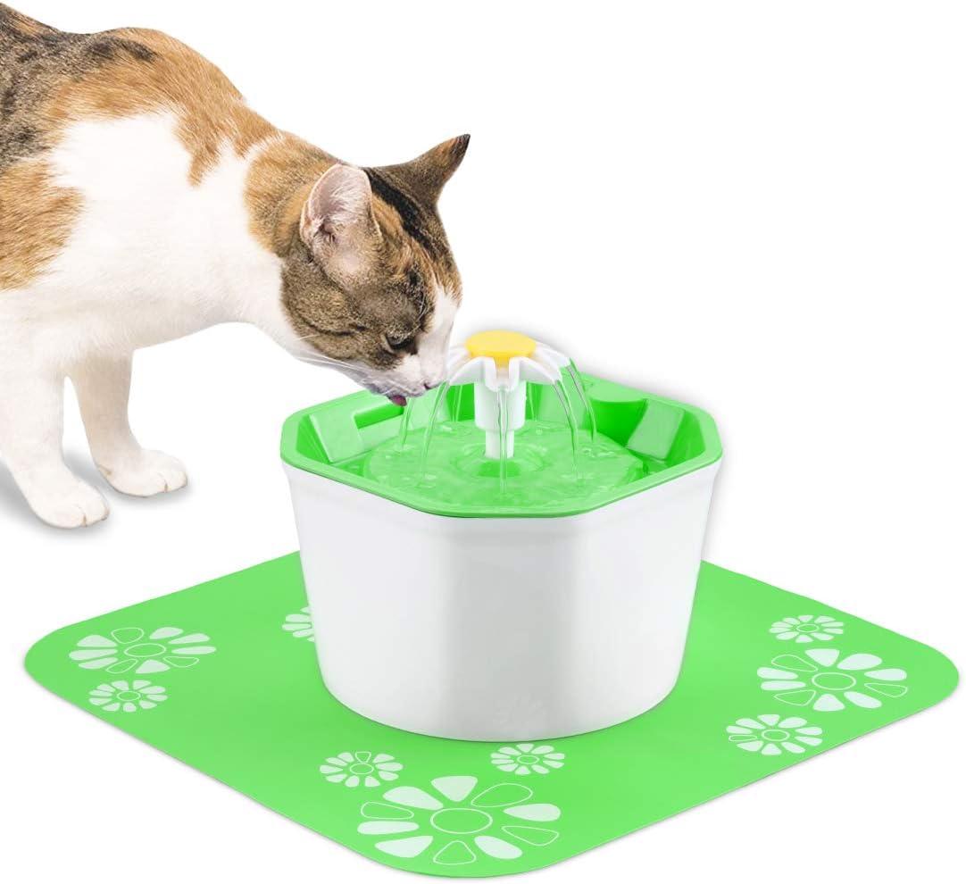 KOOPAO Pet Cat Dispensador de Fuente de Agua,1.6L Mascotas Filtros de reemplazo de Fuente automáticos Ultra silencioso Saludable e higiénico para Perros Gatos 1 Filtro 1 tapete de Silicona Green