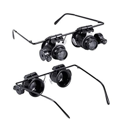 9000c7522204 AngelaKerry Magnifying Glasses Jewelry Loupe Watch Repair Magnifier Eyewear  Miniature Magnifying Glass Loop 20x Magnifier Headset