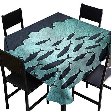 Amazon com: home1love Fish Anti-Fading Tablecloths Surreal Ocean