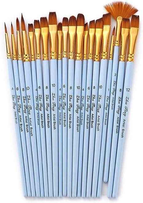 Set de pinceles para dibujar, 20 pzs. Kit de pinceles para artistas Pinceles para medios múltiples con pelo de nailon para el artista Acrílico Acuarela Gouache Pintura al óleo al óleo para