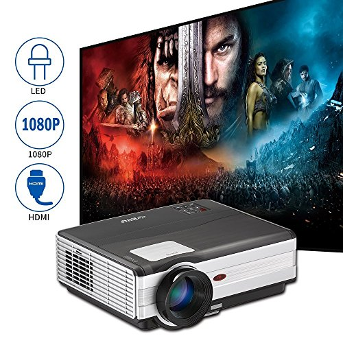 EUG 3500 Lumen LED Video Projector Outdoor Movies Support HDMI VGA 3.5mm USB Home Cinema LCD Display for Gaming PC Laptop Movies Game Consoles,Living Room Basement Outdoor Movie Night