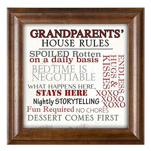 Grandparents' House Rules 12 x 12 Woodgrain Framed Wall Art Plaque