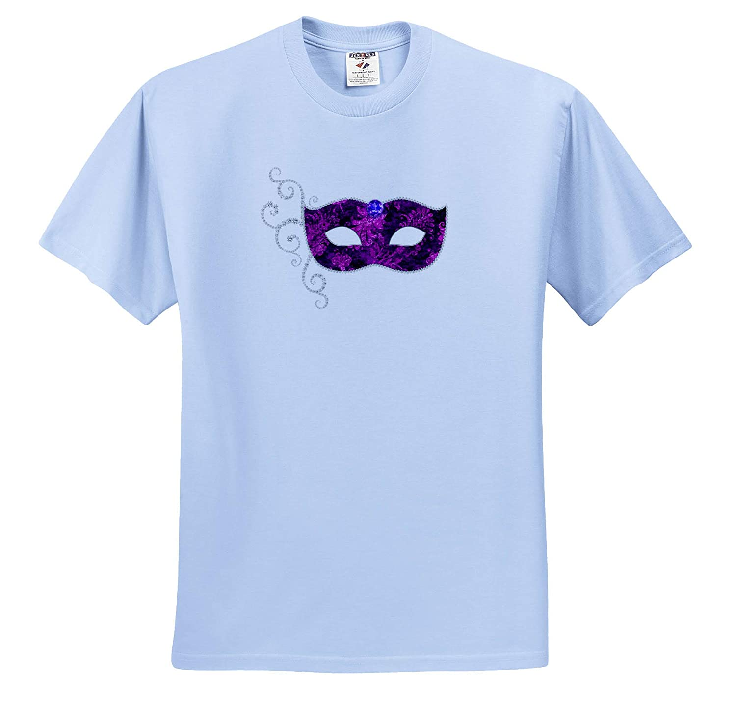 T-Shirts 3dRose Anne Marie Baugh Glam Purple and Silver Color Image of Jeweled Costume Mask Design Illustrations