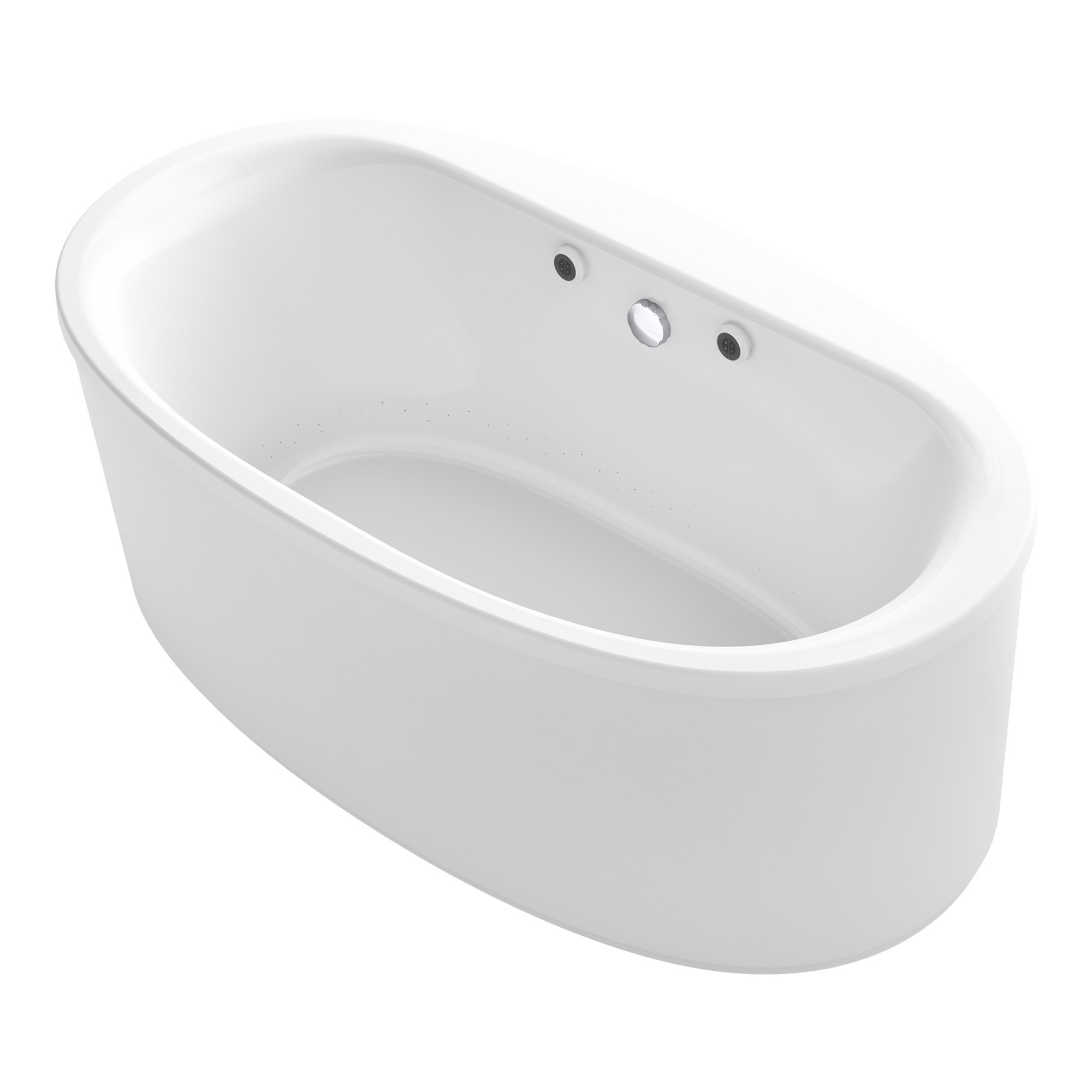 KOHLER K-1966-GW-0 Sunstruck 66'' x 36'' Oval Freestanding BubbleMassage Air Bath with Bask Heated Surface and Straight Shroud, White