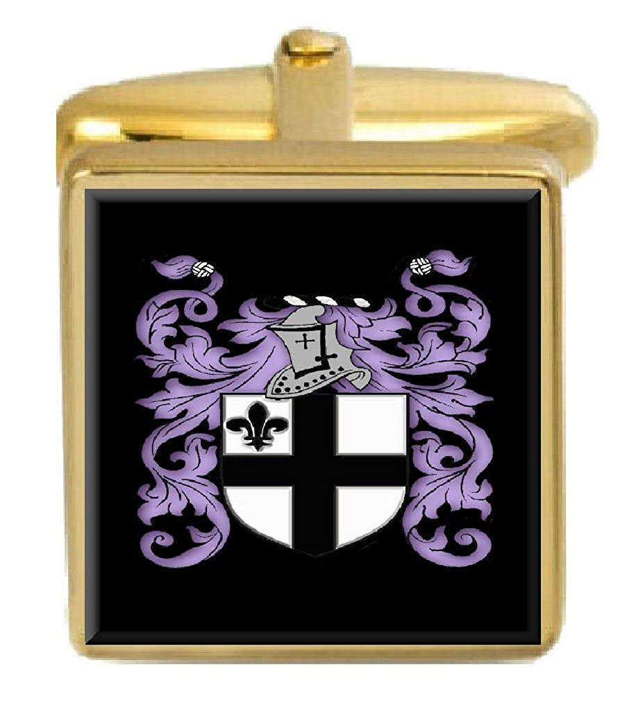 Select Gifts Haddock England Family Crest Surname Coat Of Arms Gold Cufflinks Engraved Box