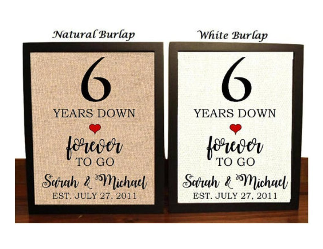 6 years down 6th anniversary 6th wedding anniversary card personalised