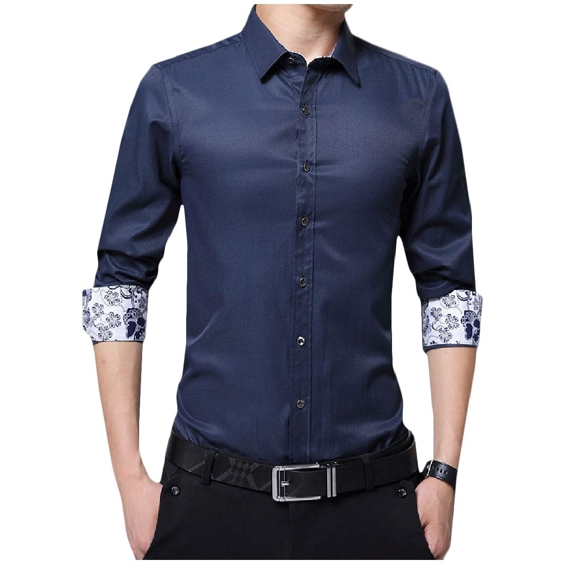 Abetteric Mens Juniors Summer Long-Sleeve Floral Printed Button Down Shirt