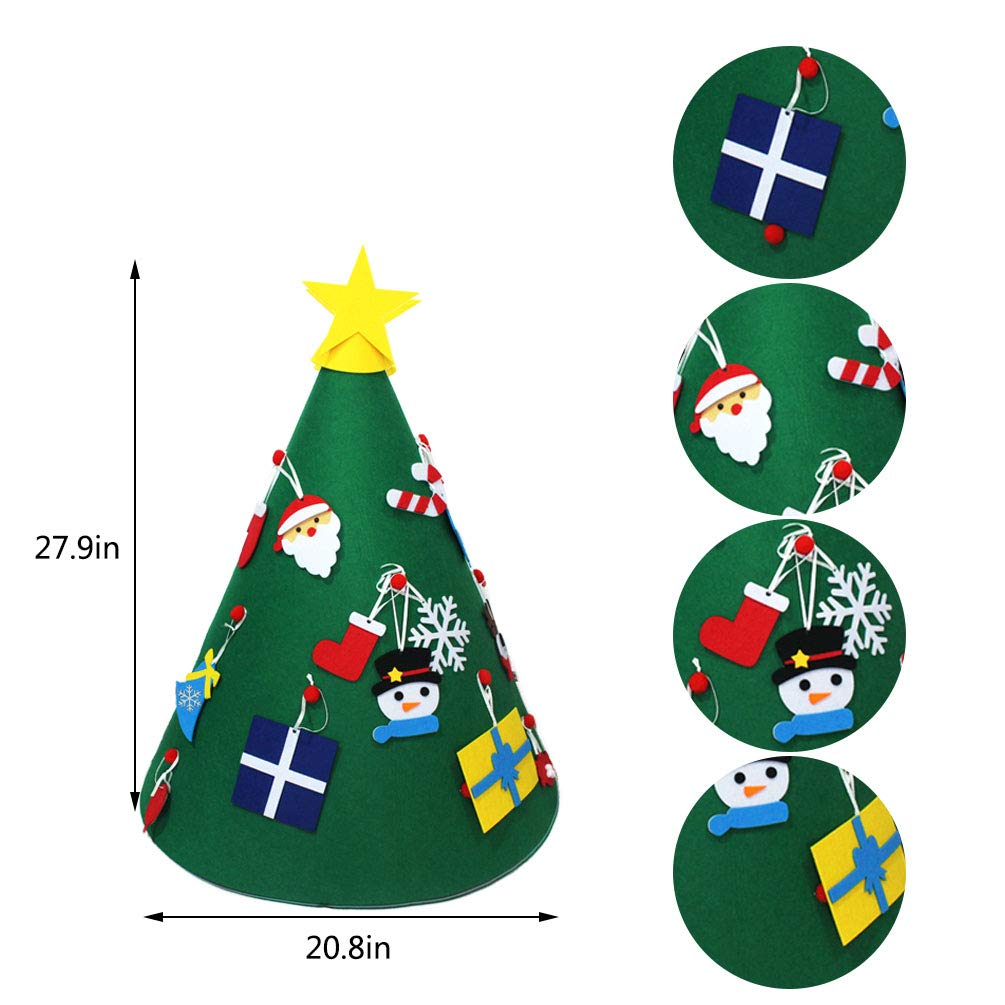 Yolyoo 3D DIY Felt Christmas Tree with 18pcs Detachable Ornament Toddler Friendly Christmas Tree Kids Xmas Gifts Christmas Home Decorations