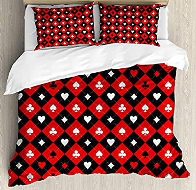 Poker Tournament Decorations Duvet Cover Set by Ambesonne, Card Suit Chess Board Classic Checkered Pattern Symbols, Decorative Bedding Set with Pillow Shams, Red Black White