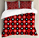 Poker Tournament Decorations King Size Duvet Cover Set by Ambesonne, Card Suit Chess Board Classic Checkered Pattern Symbols, Decorative 3 Piece Bedding Set with 2 Pillow Shams, Red Black White