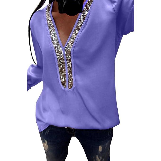 Manga Larga de Lentejuelas Sexy Mujeres de Moda Blusas con Cuello en V Blusa Casual Camiseta ❤ Manadlian: Amazon.es: Ropa y accesorios