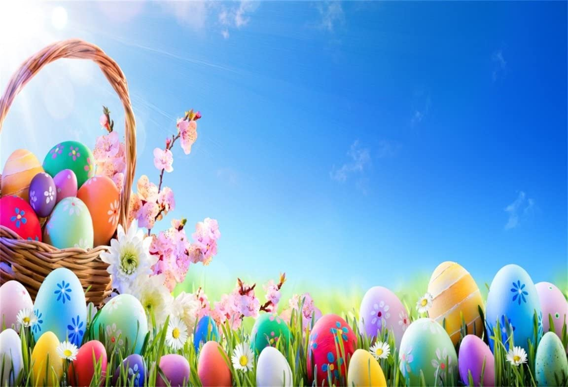 AOFOTO 7x5ft Decorated Easter Eggs Photography Background Spring Flower Meadow Backdrop Rustic Basket Garden Grass Sunny Sky Kid Baby Girl Newborn Infant Boy Portrait Photo Studio Props Wallpaper